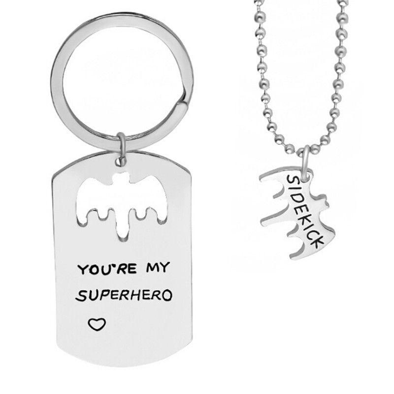 You're My Superhero Pendant Necklace Keychains Letter Sidekick Bat Chain Choker Key Ring Jewelry