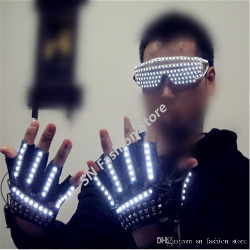 T827 Half finger LED lights illuminated beaming luminous glowing dancing gloves burst festival lighting event party supplies performance dj