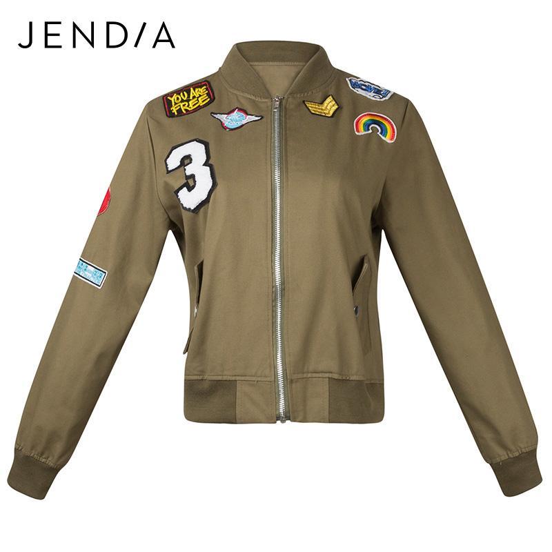 JENDIA Fashion 2017 Punk Jacket Coat Women Tops Patch Pattern Long Sleeve  Zipper Bomber Jacket Pockets Jackets chaqueta mujer