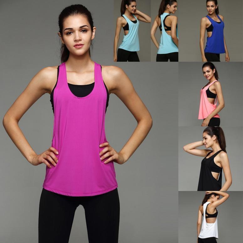 e7ecb093c6252 2019 Summer Sexy Women Tank Tops Dry Quick Yoga Shirts Loose Gym Fitness  Sport Sleeveless Vest Singlet For Running Training Yoga From Fwuyun