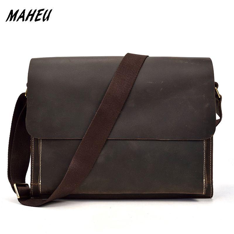 Men s Genuine Leather Shoulder Bag Vintage Crazy Horse Leather ... 54180499d7d2d