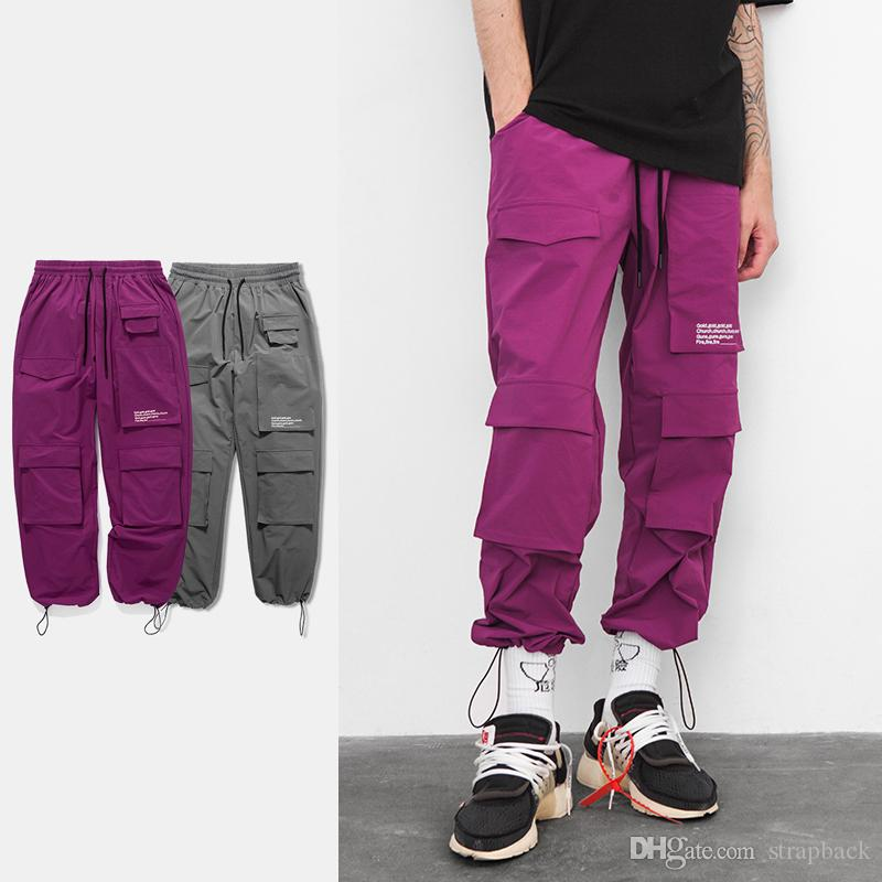 c6e954b23c0 2019 Strapback Mens Womens New Gray Purple Elastic Waist Windbreaker Joggers  Pants Loose Pocket Casual Harem Track Pants Trousers Sweatpants From  Strapback, ...