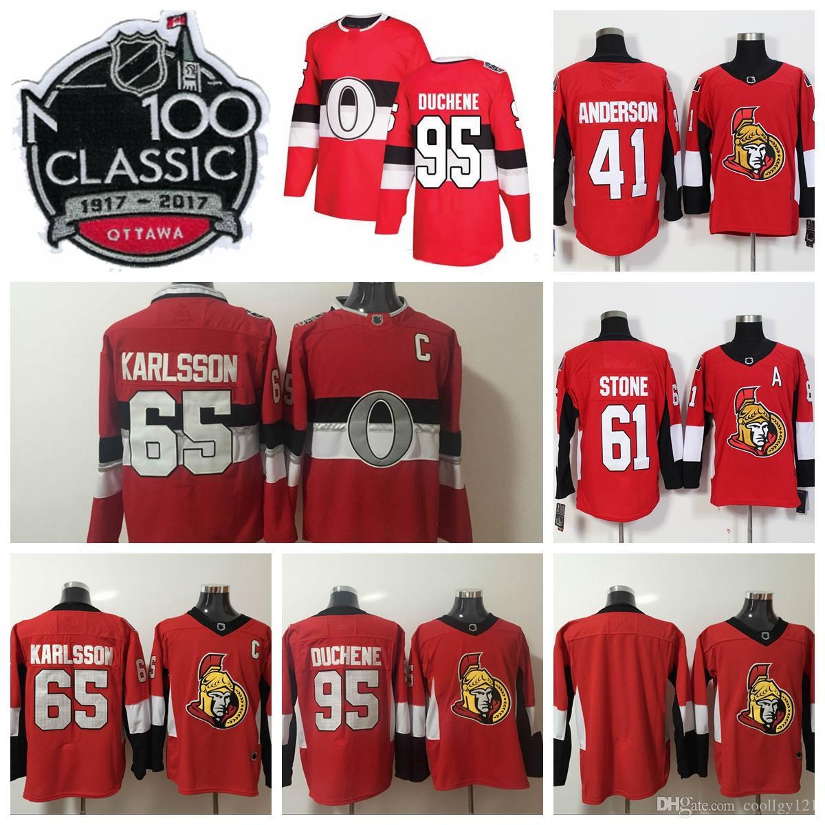 ... official store 2018 ad 100th classic ottawa senators jersey 65 erik  karlsson jersey 95 matt duchene 2fe0ad6dc