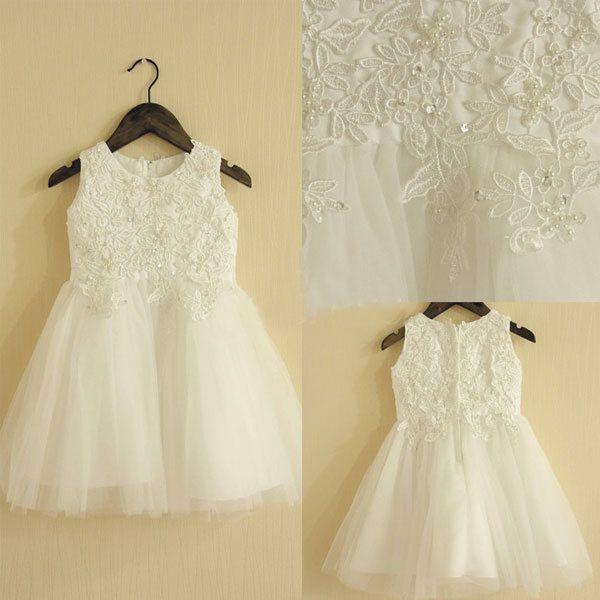 Girocollo senza maniche Bianco / Avorio Flower Girl Dress con perline di pizzo Appliques Detailing Baby Girl Dress