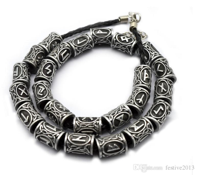 Wholesale- Top Silver Norse Viking Runes Charms Beads Findings for Bracelets for Pendant Necklace for Beard or Hair Vikings Rune Kits