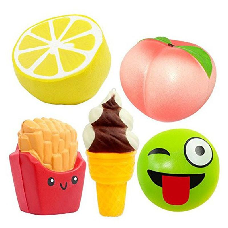 11-18cm Jumbo Squishy Lemon Chips Ice cream peach smile face Cartoon Slow Rising Squishies Fruit Squeeze Toy Gift Funny for children Gift