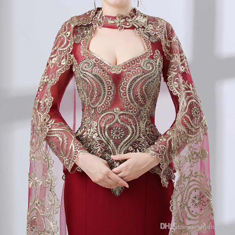 Бордовый Арабский Русалка Вечерние Платья 2018 Robe De Soiree С Длинным Рукавом Вечернее Платье Женщины Пром Платье Настоящее Фото
