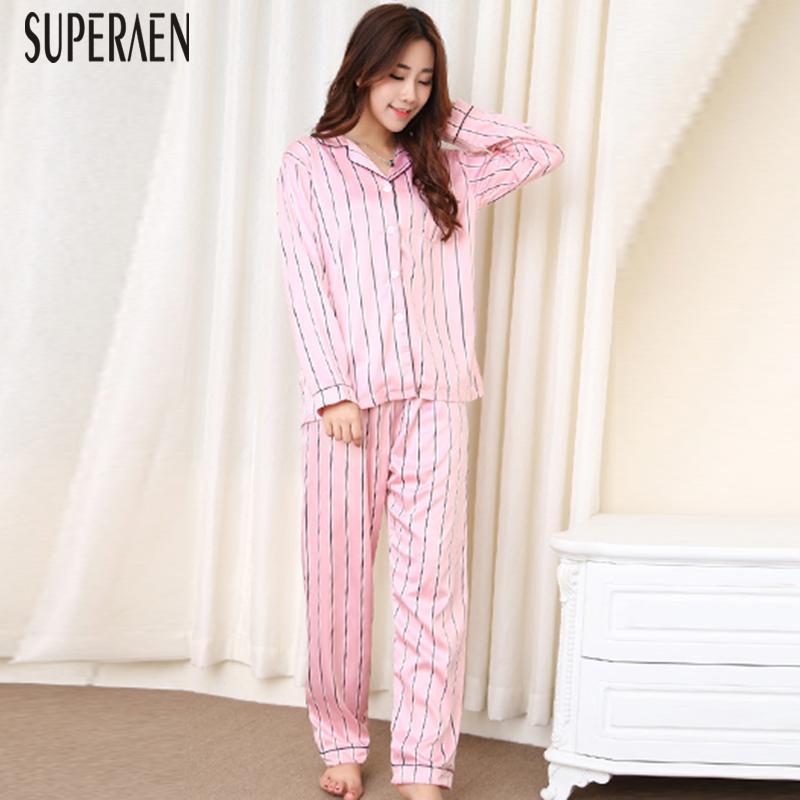 baa34d592 Compre SuperAen Primavera E Outono Novas Mulheres Conjuntos De Pijama 2018  Lapela Manga Longa Camisa Listrada Algodão Feminino Calças Mulheres  Conjuntos De ...