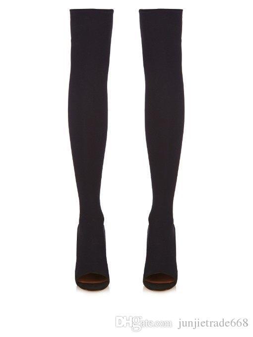 2018 neue Matt Leder High-Heels Catwalk dick mit Fischkopf Stiefel weibliche Herbst und Winter jackboot stretch Ofenrohr Stiefel