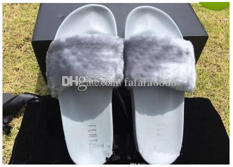 ab27f2f302e8 2018 New Rihanna Leadcat Fenty Color Slipper Faux Fur Burgundy Slide  Slippers Ladies Indoor Purple Pink Sandals Sneakers Running Shoes Sports  Shoes Online ...