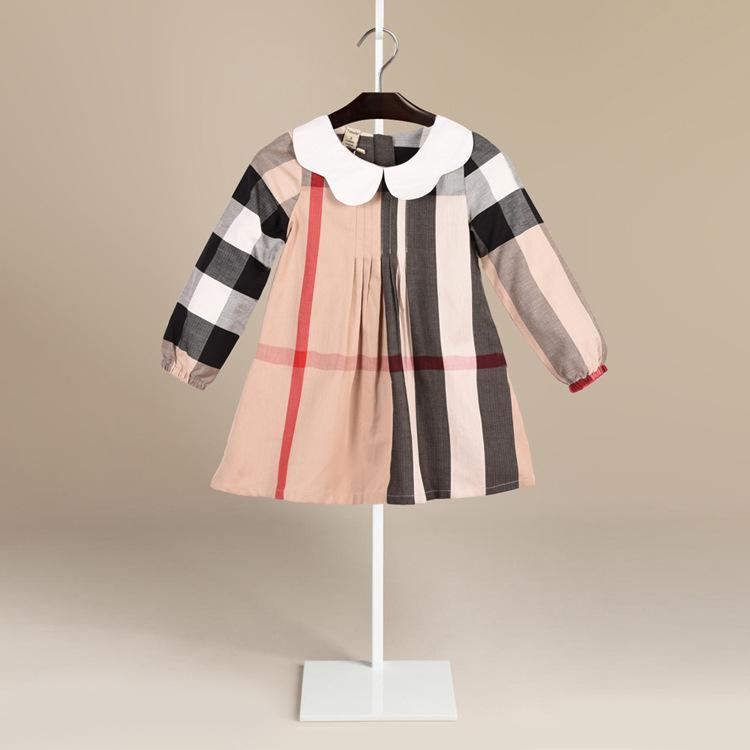 3057c2cc9a5f Acquista Abbigliamento Bambini 2018 Autunno Nuovo Modello Risvolto Manica  Lunga Ragazza Tempo Libero Dress In Children Abbigliamento In Puro Cotone  Marea A ...