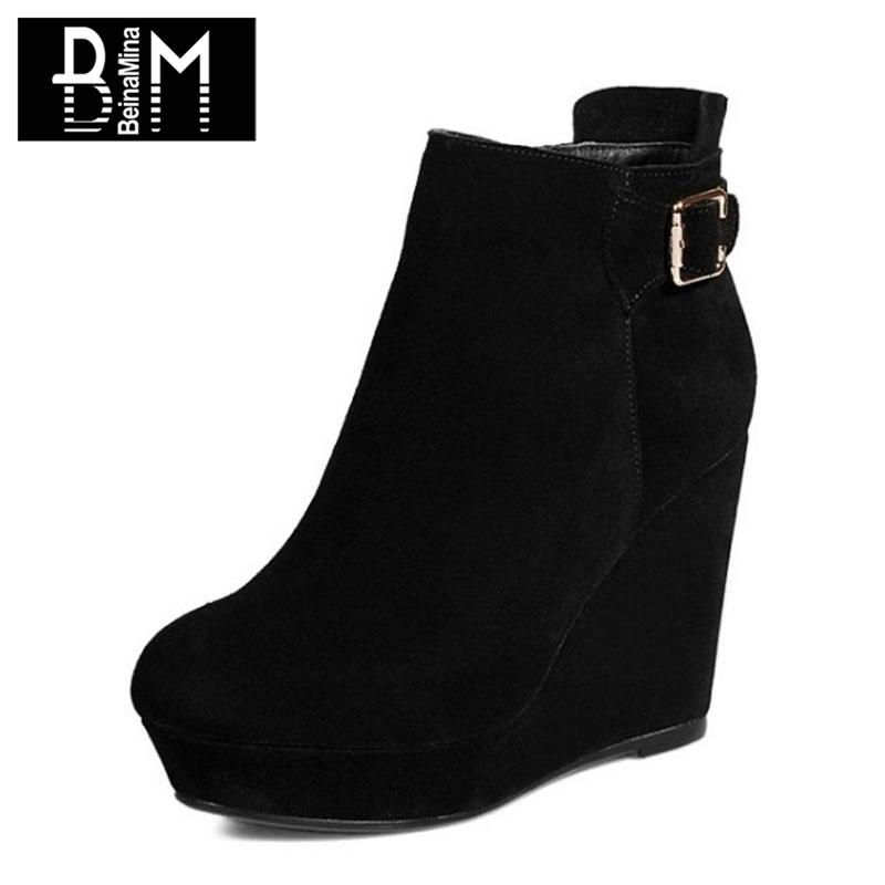 7da01a9eafe BEINAMINA Ladies High Heel Boots Real Leather Platform Zipper Wedges Female  Ankle Boots Women Shoes Woman Short Size 34-39