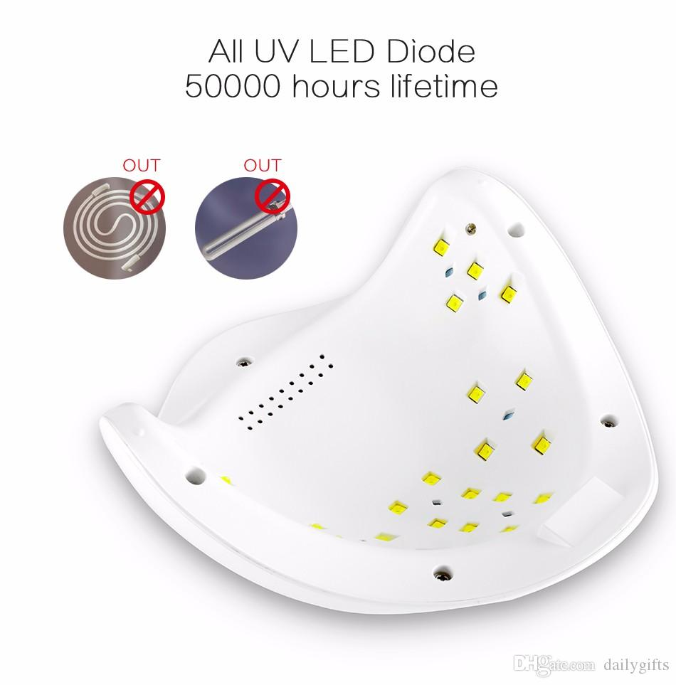 48W LED Nail Dryer, UV Nail Lamp Curing LED Gel Nail Polish Manicure Pedicure, with Infrared Motion Sensor, 4 Timer Settings, LCD Dispaly