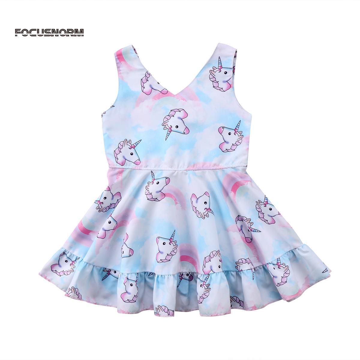ce48fb7db6ad7 Acheter Robes De Licorne Adorables 2018 New Toddler Enfants Bébé Filles  Princesse Sans Manches Désherbage Party Dress Vêtements D été Costume Pour  Enfants ...