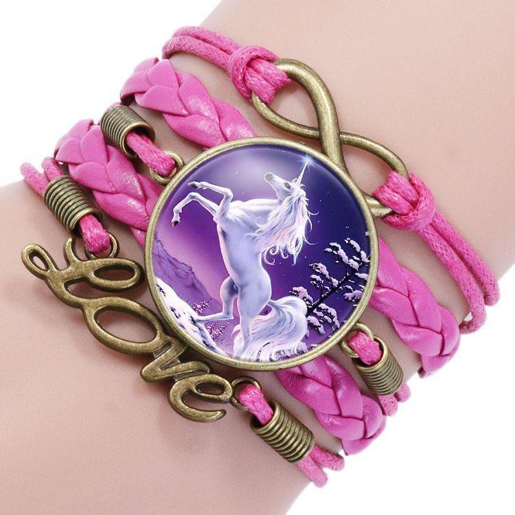 Бесконечность Unicorn Браслет Handmade Любовь Charm Pegasus Unicorn стекла кабошон Многослойные Wrap браслет наручные браслет Манжеты 320026