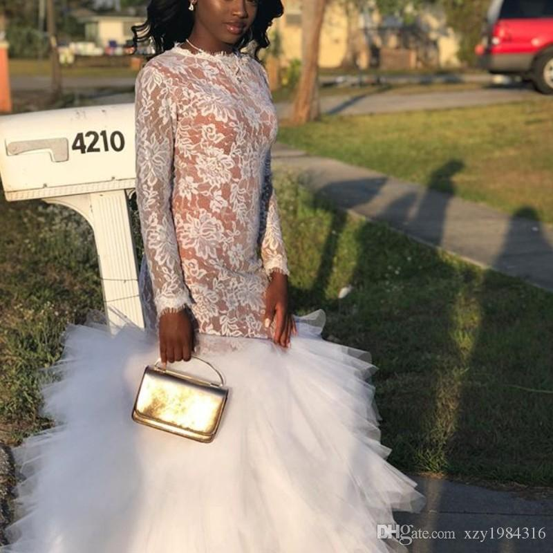 Attractive Lace Long Prom Dresses Simple Jewel Neck Long Sleeve Fluffy Tiered Tulle Train Party Dress New Sexy African Celebrity Prom Dress