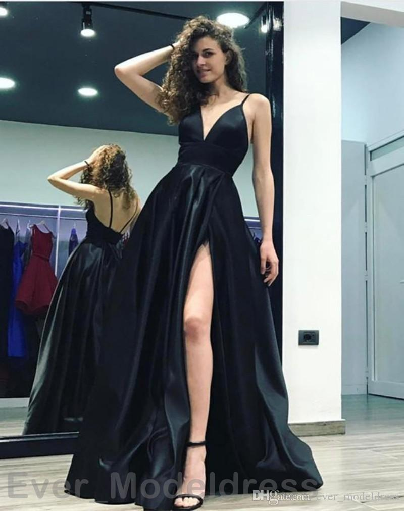 Sexy Black Side Split Prom Dresses 2018 Deep V Neck Spaghetti Straps Evening  Party Gowns Cheap Floor Length A Line Custom Made Free Prom Dress Stores In  … 9d15405ee5b4