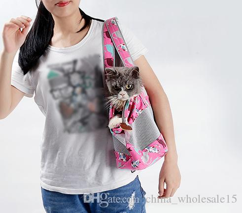 AGI-210 Breathable Dog Cat Front Carrying Bags Mesh Comfortable Travel Tote Shoulder Bag For Puppy Cat Small Pets Slings Backpack Carriers