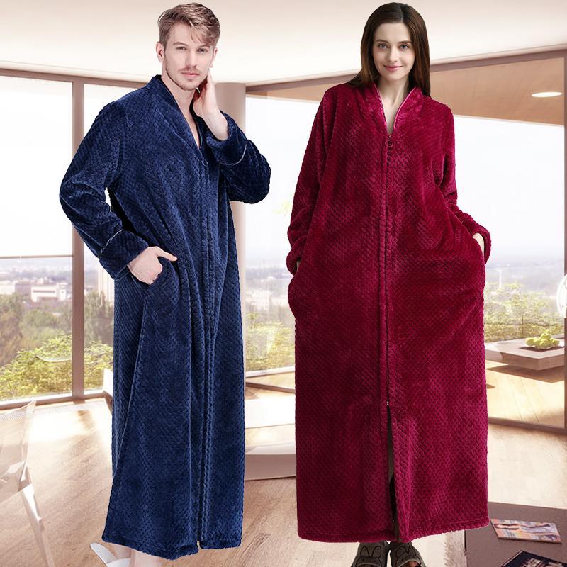 2019 New Women Men Extra Long Winter Warm Bathrobe Plus