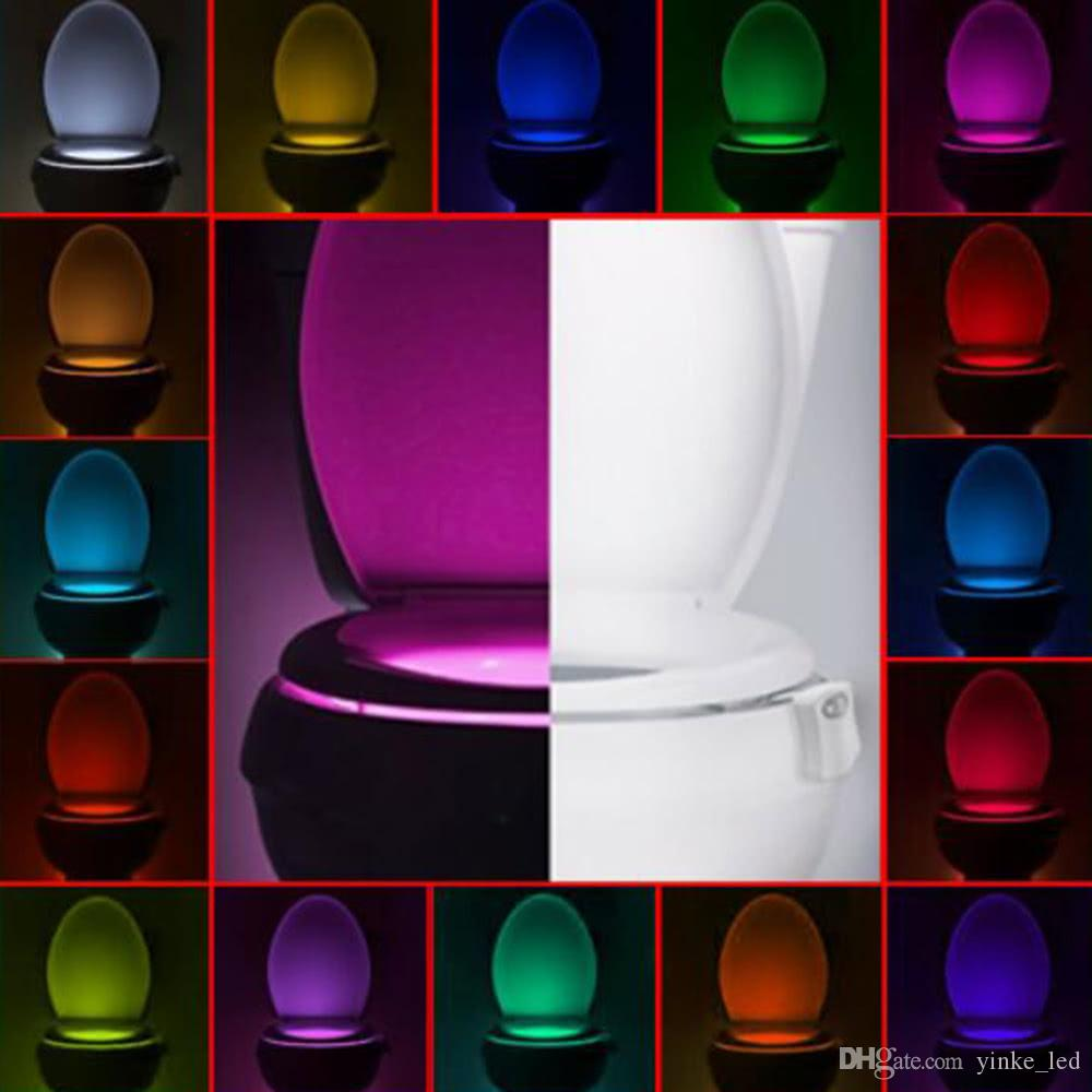 LED Toilet Night Light Bowl Bathroom Automatic Motion Sensor LED 8-16Colors Change Lamp Sensor Lights Toilet Nightlight Battery-Operated