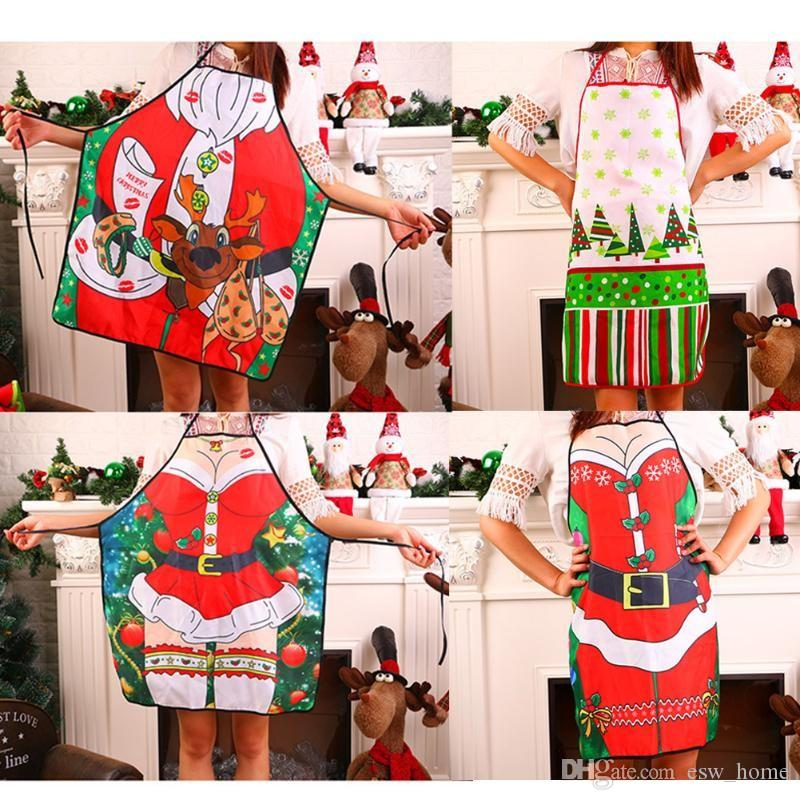 Christmas Aprons For Women Men Kids Dinner Party Cooking Apron Kitchen Cleaning Xmas Decoration Accessories Keep Clean Christmas Aprons Christmas Party
