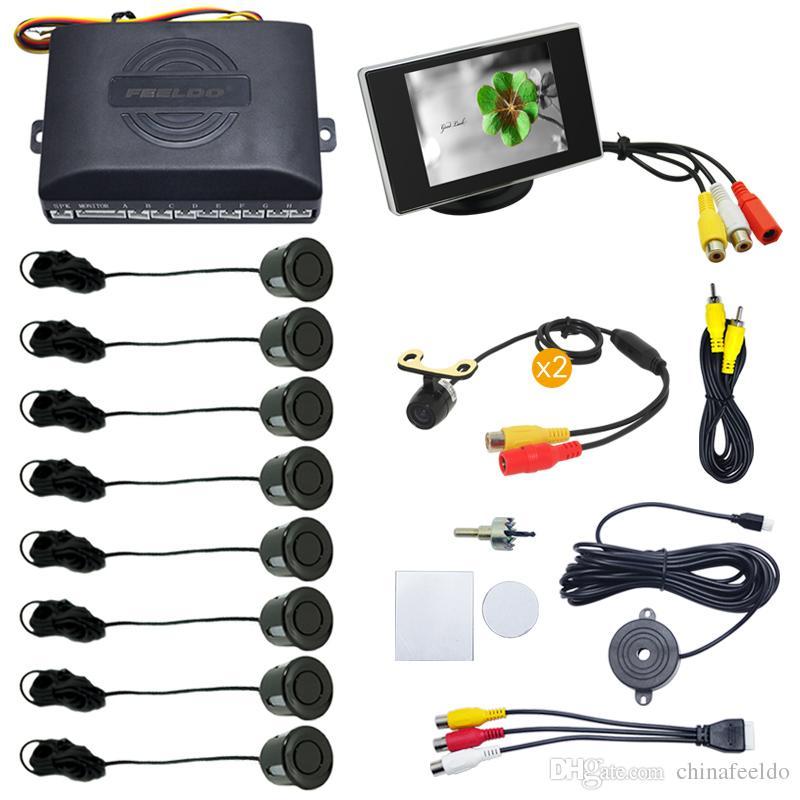 LEEWA Car 8 Sensors Front&Rear Dual View Parking Sensor Backup Radar System+Monitor+16.5mm Camera #4453