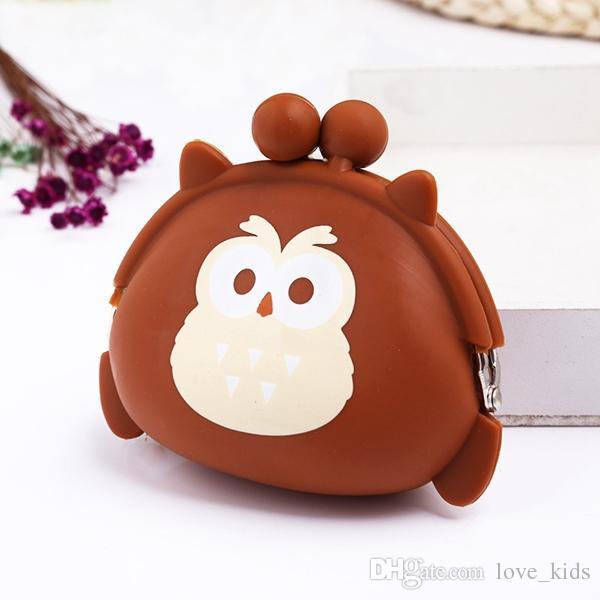 Kawaii Owl Wallet Silicona Pequeña Bolsa Monedero Lindo para Chica Clave Cartera De Goma Niños Mini Animal Bolsa de Almacenamiento de regalos de Navidad