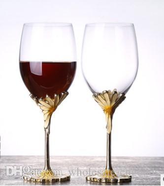 new set of enamel chrysanthemum lead-free crystal wine glasses