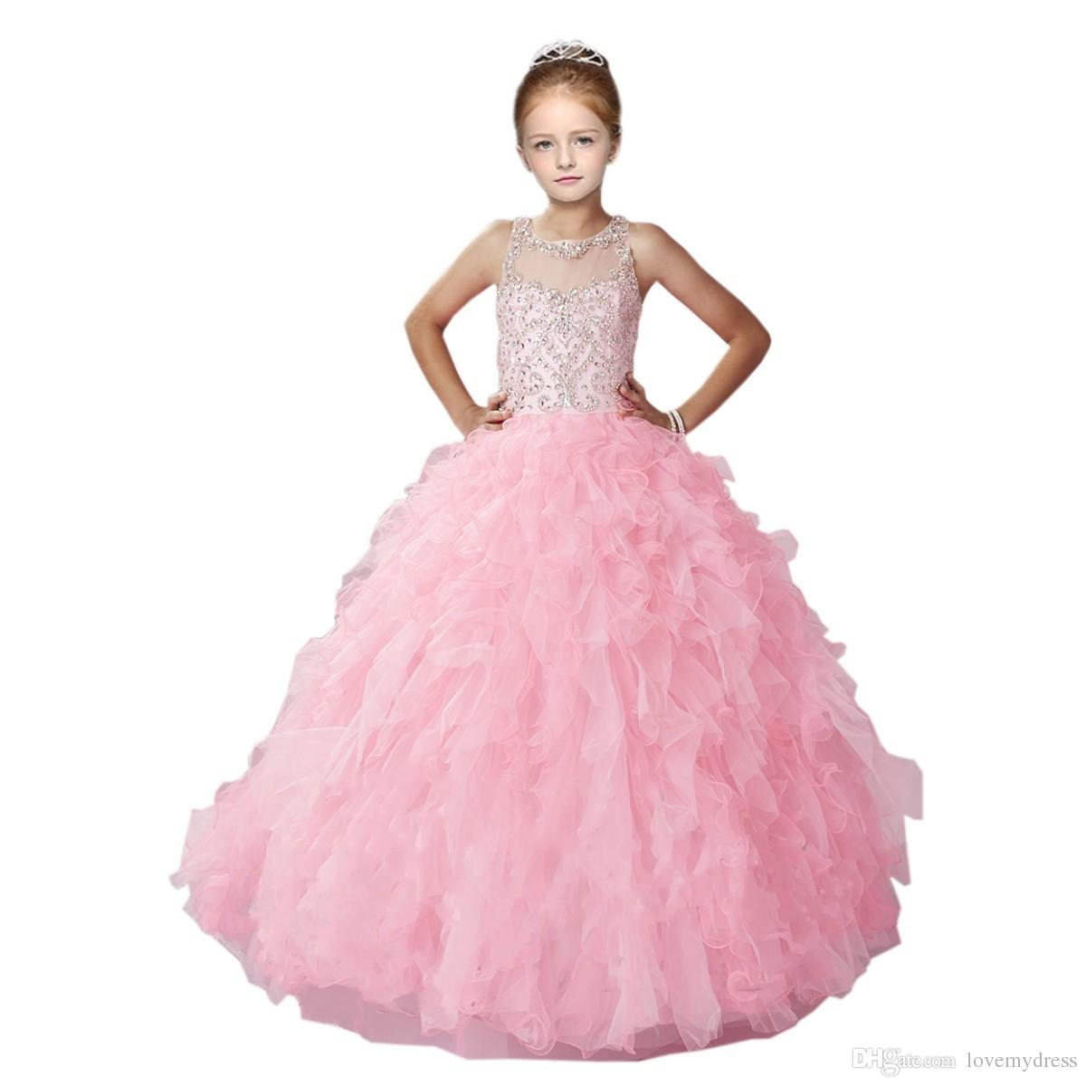 2018 Lovely Pink Little Girls Pageant Dress Ball Gown Sheer Neckline ...