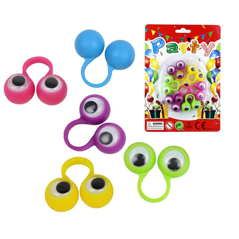 Kids Gift Toys 4cm Eye Finger Puppets Plastic Rings With Wiggle Eyes