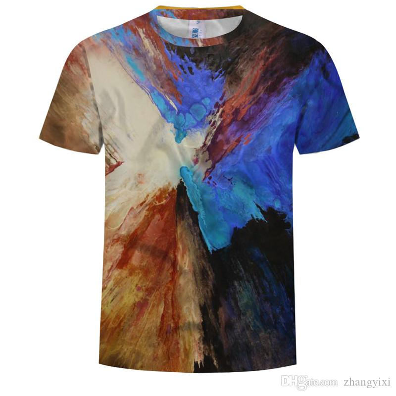 Wholesale Freies Verschiffen Frauen Männer Oli Malerei 3d Digitaldruck Mode Sommer Top Hip Hop T-shirt