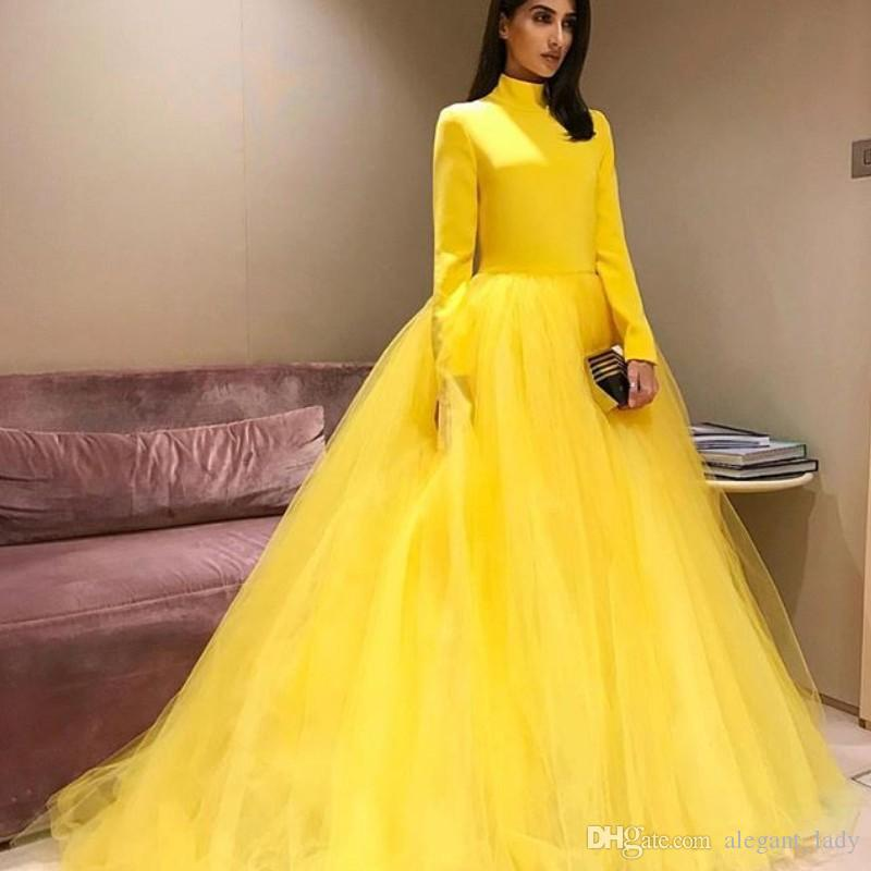 Moda amarillo Fluffy Prom Dresses cuello alto de manga larga con cremallera espalda Tulle vestido de fiesta Glamorous sudafricano Celebrity vestidos de noche