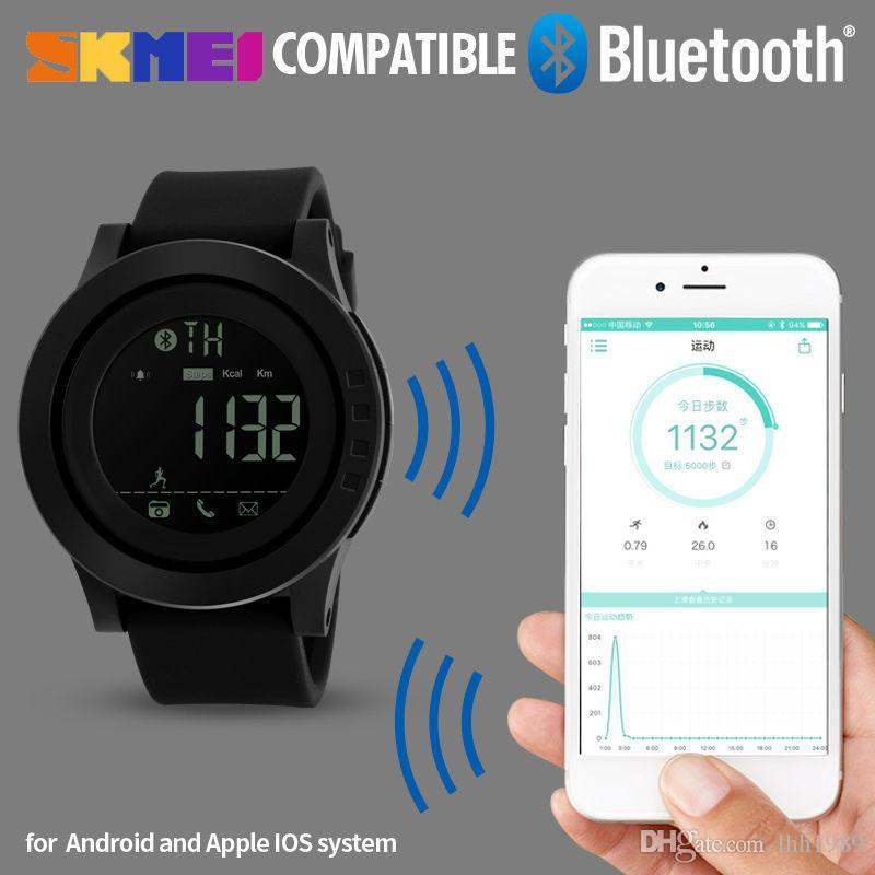 2018 Nuovo SKMEI intelligente orologio da uomo Bluetooth contapassi fotocamera a distanza calorie orologi sportivi da polso digitale impermeabile da polso Relogio Masculino
