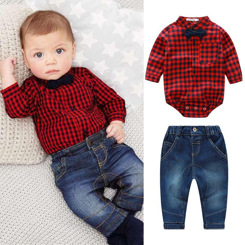 6d60e9b6e62c3 Compre 2018 Camisas De Mamelucos A Cuadros Rojos + Jeans Para Bebés Ropa Bebe  Conjunto De Ropa De Bebé Caballero Bebés Ropa Para Niños Conjunto A  23.71  Del ...