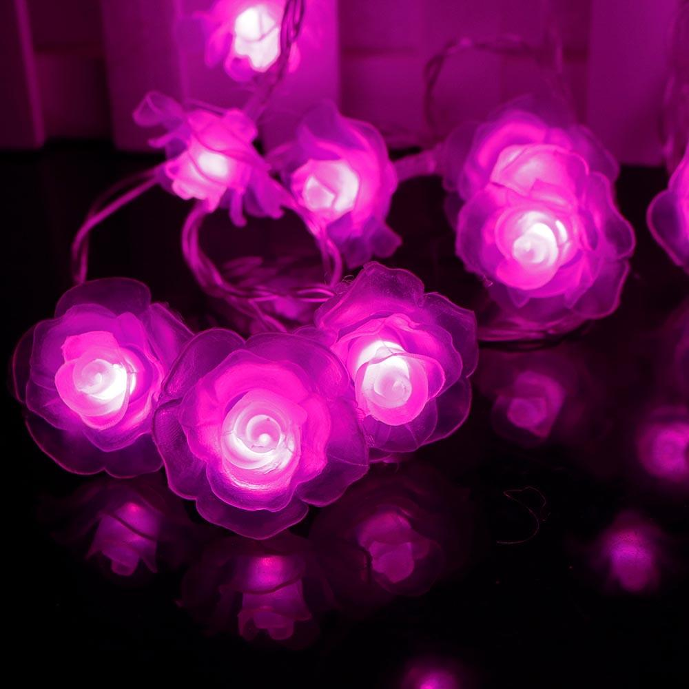 Love Rose LED String Lighting 10-20leds nightlight Valentine' Day Flower Party Wedding Christmas Fairy Decor SW