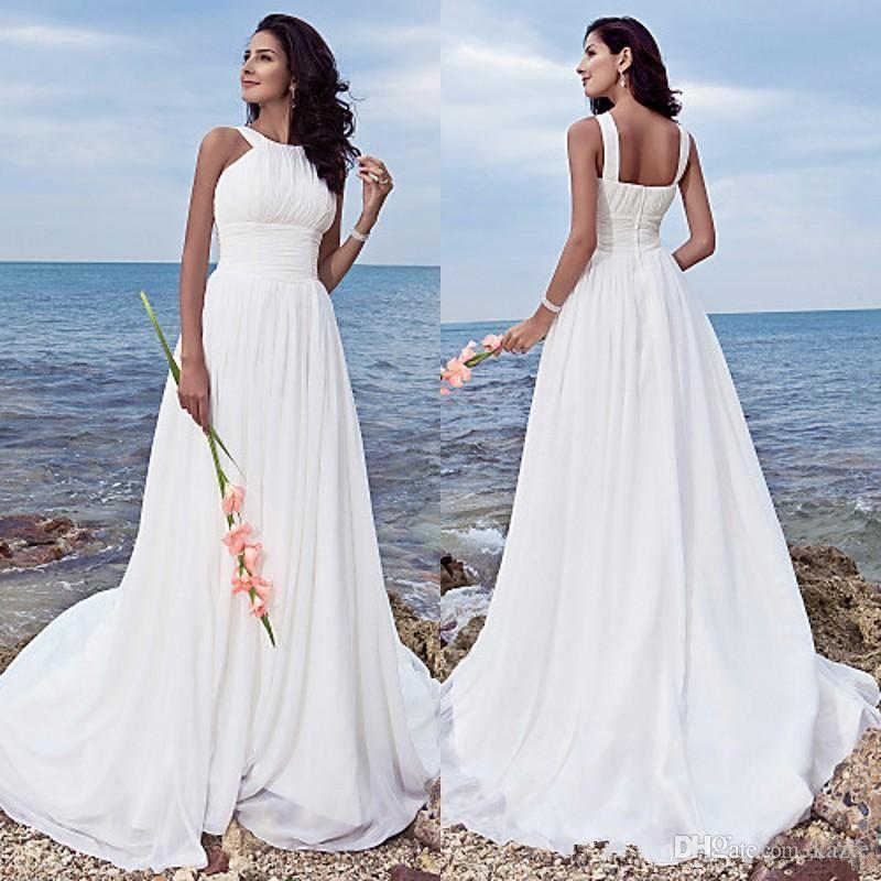 Plus Size Beach Wedding Dresses 2018 Empire Waist A Line Sweep Train White Chiffon Ruched flowy skirt Beach Wedding Gowns greek goddess
