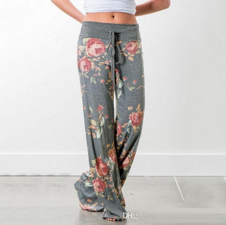 Hot sale wide leg pants womens mid waisted fashion printed casual loose floral trousers spring summer big plus size female clothes