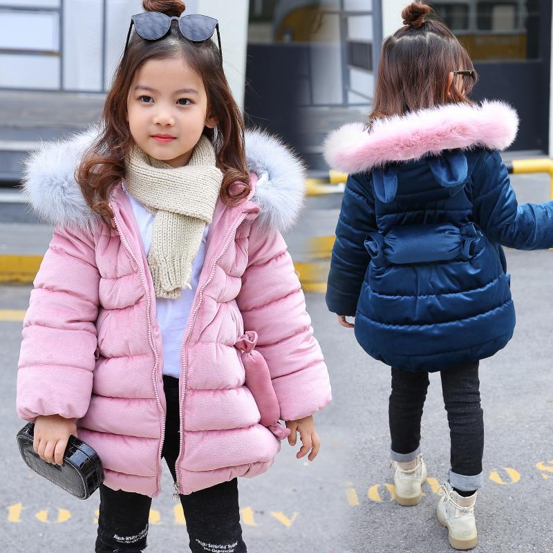 4c298d8d434a Giacche invernali 2018 coniglio orecchio per le ragazze vestiti abbigliamento  per bambini cappotto di pelliccia di spessore con cappuccio cappotto  ragazze ...