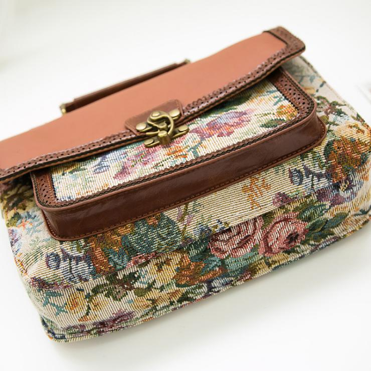 Personalized Retro Floral Pattern PU Leather Handbag Top Handle Shoulder Cross Body Bag Messenger For Women High Quality Wholesale