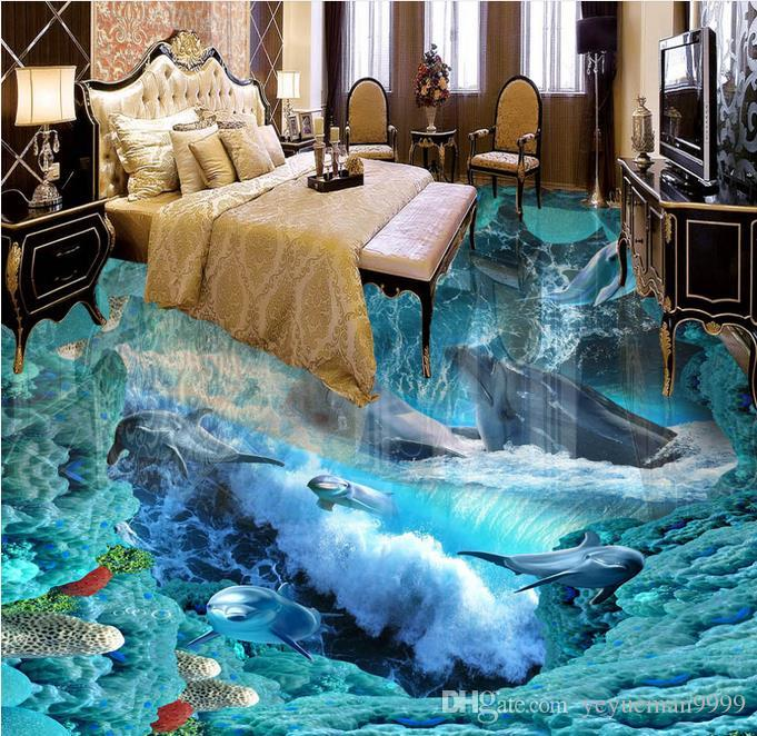 Kundenspezifisches Foto-Boden-3D Tapeten-Wellen-Badezimmer-Boden-Wand-3d  PVC-Tapete selbstklebende Boden Tapete-3d