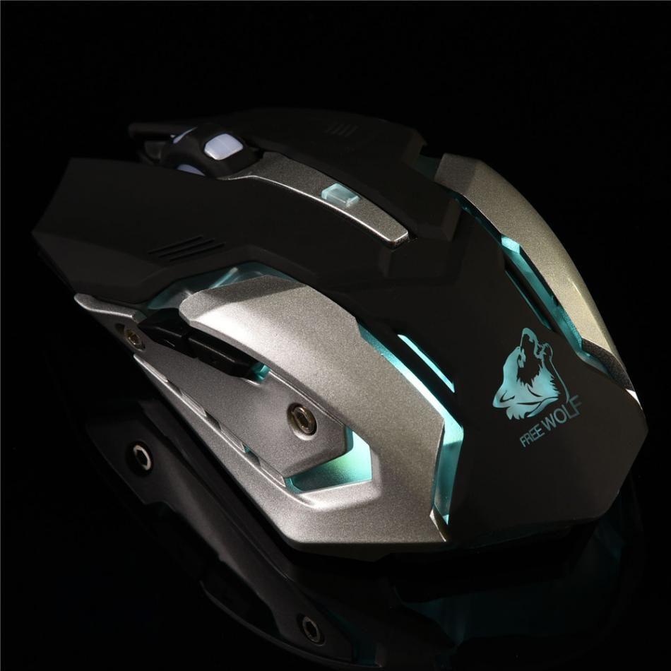 2.4G LEVOU Luz Óptico Sem Fio Gaming Mouse Ratos Silenciosos Recarregáveis 6 Botões DPI Ajustável