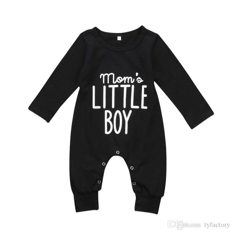 8d95b23ac Compre Bebé Recién Nacido Negro Manga Larga Mono Mameluco Pijama Imprimir  Carta Mamá Niño Pequeño Mono Bebé Recién Nacido Ropa Para Niños Mamelucos 0  24M A ...