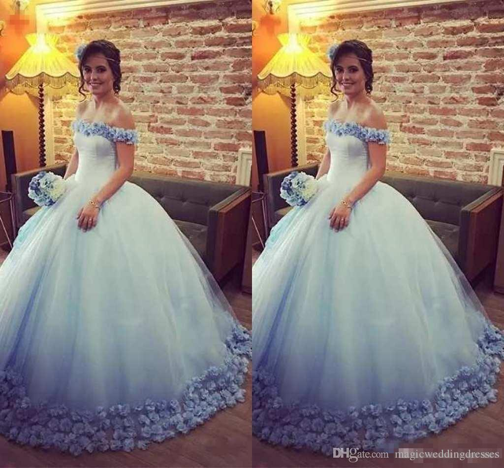 49bd8f7be 2018 Light Blue Quinceanera Dresses Ball Gown Off The Shoulder 3D ...