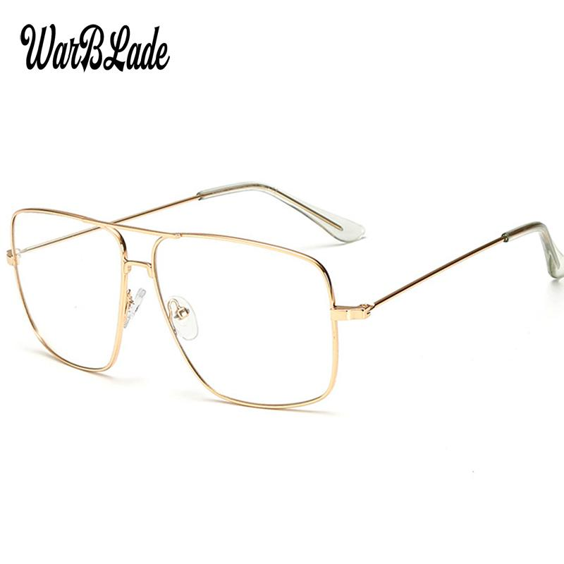 b3d086ff91 WarBLade Vintage Gold Metal Frame Eyeglasses Mens Womens Sun glasses Retro  Square Optical Lens Eyewear Nerd Clear Lens Glasses