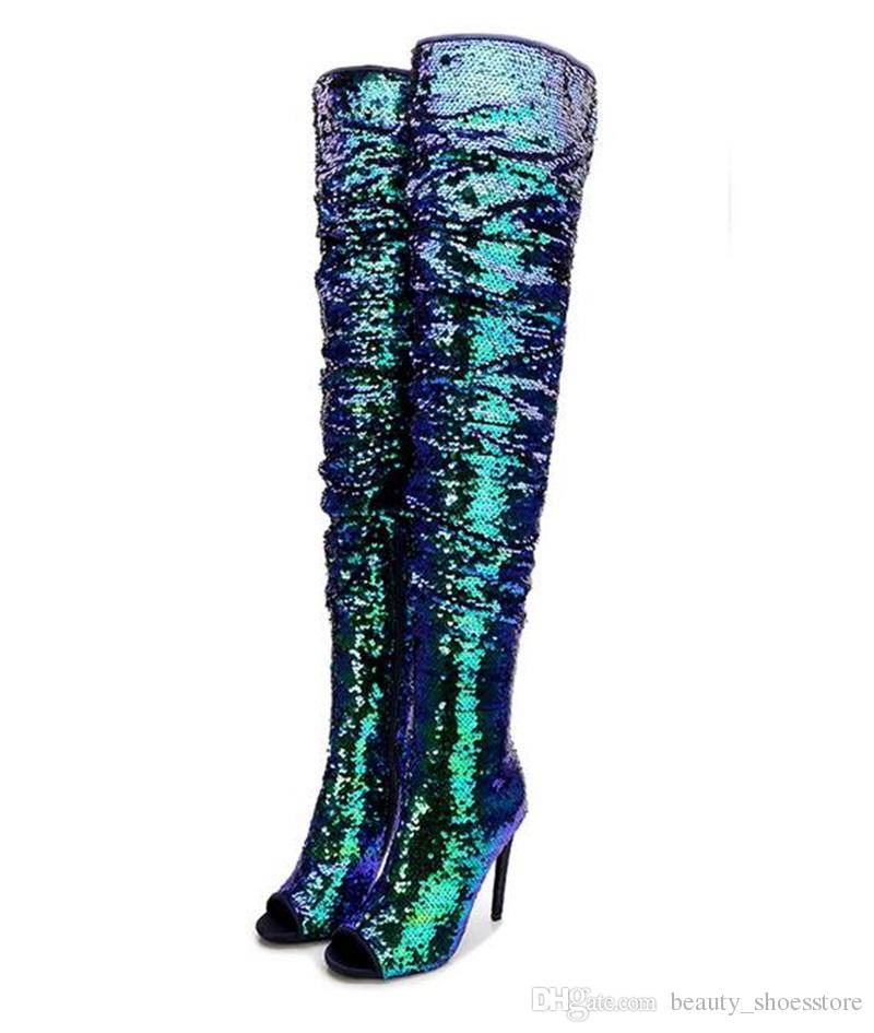 103f6afcb815 Green Sequin Fabric Thigh Boots Four Colors Peep Toe Over The Knee Boots  Women Sexy High Heel Nightclub Long Boots Fashion Shiny Shoes Chelsea Boots  Shoes ...