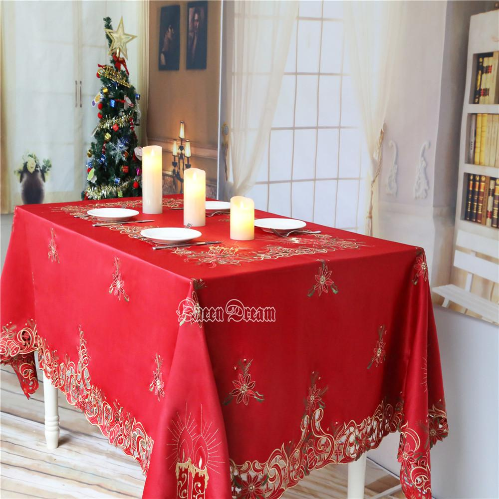 Christmas Tablecloths.Wholesale 60in By 104in 150cmx260cm Christmas Tablecloths Embroidery Linen Table Cloths American Country Red Rectangular Tablecloths