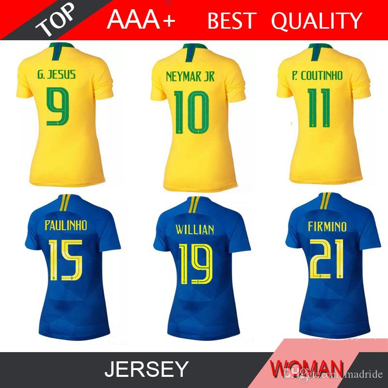 eda2015d2 2019 P.COUTINHO Women 2018 World Cup Soccer Jersey Feminine PAULINHO MARCELO  RONALDINHO G.JESUS Lady Home Away Football Shirt From Madride