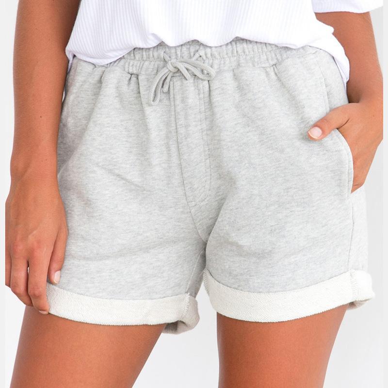Été Pantalones Haute Hem Court Mujer Ete Cordon Élastique D Roll Femme Cortos Up 2018 Shorts Taille Femmes Casual bgfyIY76v