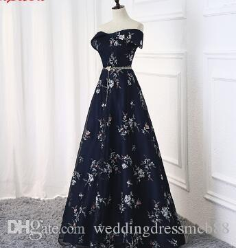 84da8cd8ba08 Navy Blue Long Evening Dresses Party A Line Beautiful Women Prom Elegant Formal  Evening Gowns Dresses On Sale Abendkleider Teen Prom Dresses Wholesale Prom  ...