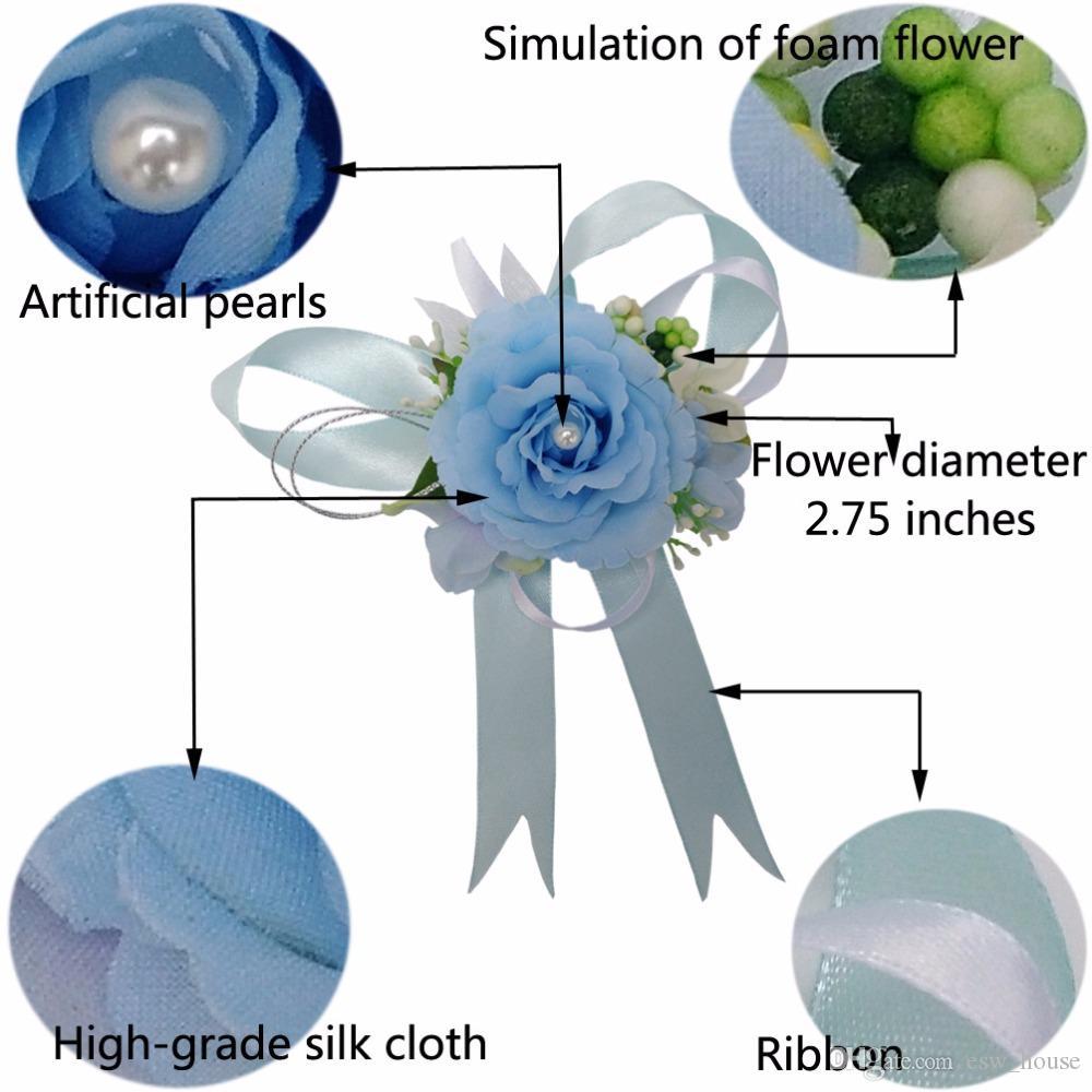 Envío libre hermosa nupcial muñeca flor ramillete dama de honor hermanas mano flores boda Prom Artificial seda flores pulsera JM0178